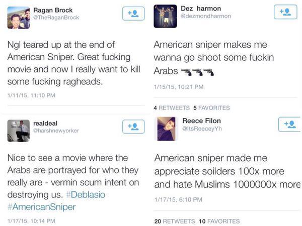Captured tweets illustrate how 'American Sniper' perpetuates white supremacy. via @LeslieK_nope